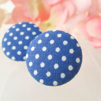 Navy blue polka dot earrings, Vintage button earrings, Fabric button earrings, Polka dots, Bridal party, Fashion trend, clip on, studs