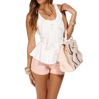 White Bow Peplum Top