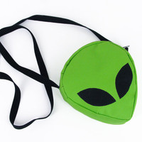 Alien Head Purse, Lime Green Bag, Outer Space Clutch, Cyber Style, Alien Face Eyes, Handmade Alien Bag