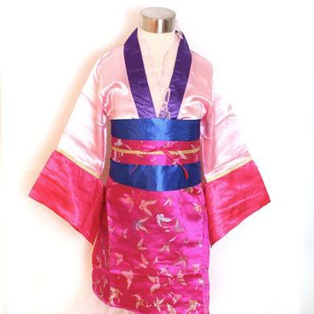 smilekids   Mulan Halloween Costume Pink Butterfly Print Kimono Dress Toddler Girls - For ages 3 to 7 years   Online Store Powered by Storenvy