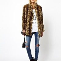 ASOS Longline Animal Faux Fur Coat. - Brown