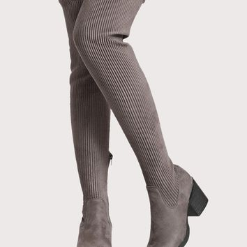 Thigh High Faux Suede Stretch Boots BLACK