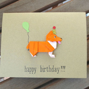 Dog birthday card corgi birthday card from fubini crafts dog birthday card corgi birthday card origami card corgi card cute birthday card bookmarktalkfo Images