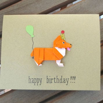 Dog Birthday Card Corgi Origami Cute