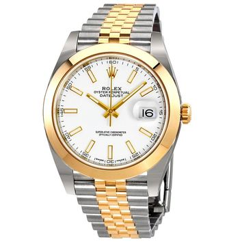 Rolex Datejust 41 White Dial Steel and 18K Yellow Gold Rolex Jubilee Mens Watch