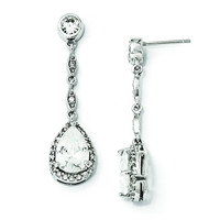 Sterling Silver CZ Teardrop Dangle Post Earrings QCM840