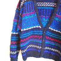CLOSING SALE Vintage Blue Knit Cardigan Coogi  Grandpa Sweater TRIBAL hipster Mens Sweater hipster clothing 80s striped cardigan mens medium