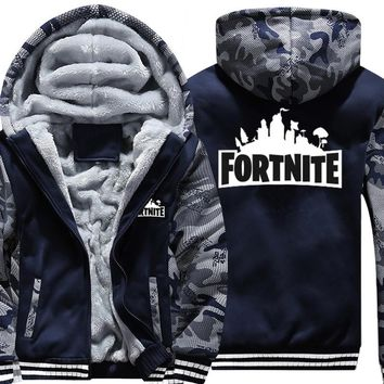 USA SIZE Super Warm Fortnite Hoodies Sweatshirts Winter Thicken Fleece Camo Men's Jackets Zipper Hooded Coats Clothes New