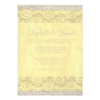 Yellow Rustic Lace Wedding Invitations