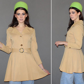 Vintage 60s MOD Wool Coat / LILLI ANN Rare Young Young Line / Camel Color, Groovy Belted Short Coat / Pleated Bottom / Designer / Xs, Small