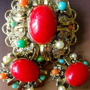 Victorian Revival Red Filigree Brooch Earring Set, Multi Color Beads, Vintage