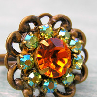 Vintage Rhinestone Cocktail Ring in Mint and Orange