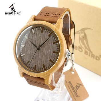 Bamboo Watch Men Luxury Brand BOBO BIRD Quartz Leather Watch