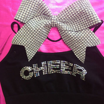 Cheer Sequin Cami Style Sports Bra with Matching Rhinestone Bow in Silver