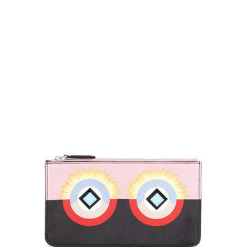 Fendi Monster Flat Zip Pouch Bag, Pink/Black
