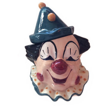 Vintage Clown Cookie Jar Studio Art Ceramic Happy Clown Decor Vintage Smiling Clown 1968 Original