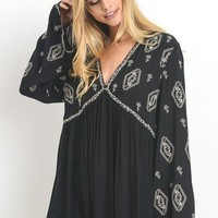 Paisley Embroidered Tunic Top - Black