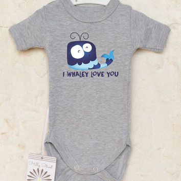 Blue Whale Baby Bodysuit. Funny Baby Gift. I Whaley Love You. Available With or Without Text. Baby Girl or Baby Boy Clothes.