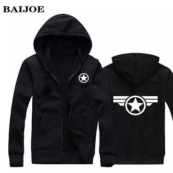 BAIJOE Hoodies Men Marvel Captain America 2 Costume Hero Print Hoody Sweatshirt Black Jacket Hip hop Mens Casual clothing