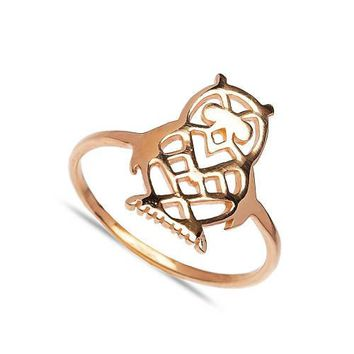 Gold Owl Ring Over 925 Sterling Silver