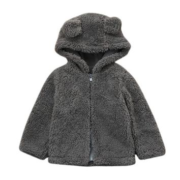 Toddler Baby Boys Girls Fur Hoodie Winter Warm Coat Jacket Cute Thick Clothes Oct 24