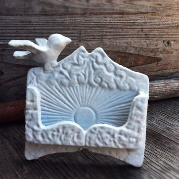 Business Card Holder, True White, Small Bird, Office Supplies, Business Supplies, Shabby Chic, Iphone Holder, Spring Decor,  White Decor