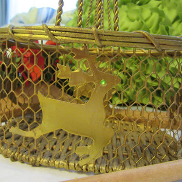 Small Unique Vintage Gold Holiday Chicken Wire Handmade Reindeer Basket
