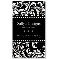 Elegant Black & White Damask Interior Designer Business Card Template from Zazzle.com
