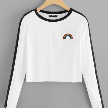 Rainbow Patch Contrast Panel Crop Tee