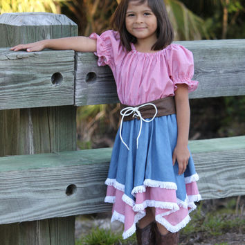 Cowgirl Outfit, Girls Cowgirl Dress, Flower Girl Dress, Denim Cowgirl, Western Wedding, Dance Recital Dress,Custom Created Western Dress