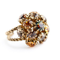 Vintage Brown Rhinestone Ring -  Adjustable Gold Tone Austrain Costume Jewelry / Golden Amber Cluster