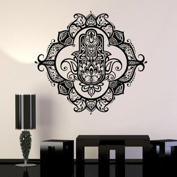 Vinyl Wall Decal Hamsa Lotus Bedroom Ornament Decor Stickers (ig3460)