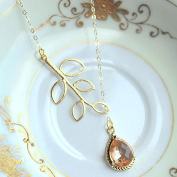 Blush Champagne Lariat Necklace Lariet Leaf Gold Teardrop Bridal Necklace - Peach Bridesmaid Lariat Necklace Pink Bridesmaid Jewelry Wedding