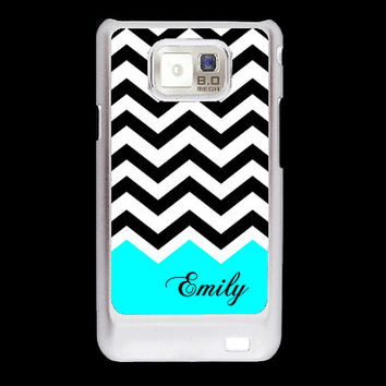SALE Turquoise black white chevron with name Samsung Galaxy S2 case, AT&T i9100 cover, Samsung Galaxy SII cover, hard case