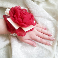 Wrist Corsage, Red creme satin flower, bridesmaid Corsage hand made silk flower faux pearls bracelet