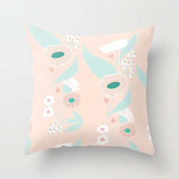 Petite pink motif Throw Pillow by Vicky Theologidou