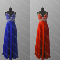 A Line Evening Dresses Spaghetti Straps Long Prom Dresses Sexy Beaded Bridesmaid Dresses Chiffon Red Royal Blue Wedding Guest Party Dresses
