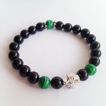 Mens Strength Black Onyx Bracelet,Mens Bracelet,Green Malachite Bracelet,Men Bead Bracelet,Mens Protection Bracelet,Men's Cross Bracelet