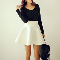 Spring Summer Autumn Plus Size Women Tutu Skirts White Vintage High Waist Flared Puff Mini Skater Ball Skirt _ 9226