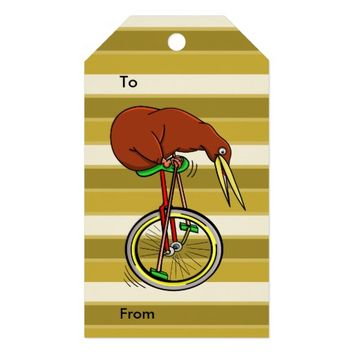 Kiwi Riding A Unicycle Funny Illustration Pack Of Gift Tags