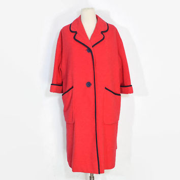VINTAGE 1960's Salmon Wool Coat by Para Mont Original with Blue Trim and Buttons
