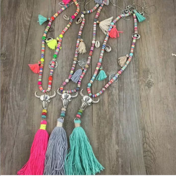 Bohemian Style Long Tassel Necklace w/ Cow Skull Pendant