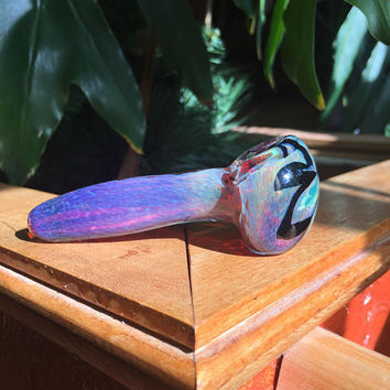 Electric Purple Color Changing Mountain Flower Glass Pipe