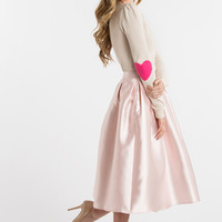 Candace Heart Elbow Patch Cream Sweater