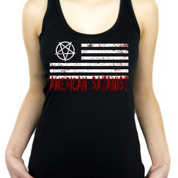 American Satanist Bloody Flag Pentagram Racer Back Tank Top Shirt Hail Satan Occult Clothing