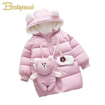 New Warm Baby Girl Winter Clothes Hooded Cartoon Baby Girl Coat Bear Long Solid Toddler Parkas Coats Infant Winter Wear 3 Colors