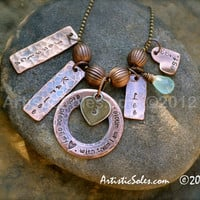 Metal Stamped Family Necklace - Rustic
