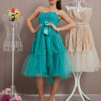 Turquoise Lace Prom Dress/Extravagant Bridesmaid Dress/Tulle Evening gown/Elegant Tulle Dress/Green Evening Midi Dress/Homecoming Dress