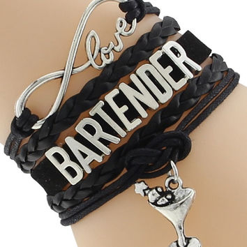 "Leather Bracelet ""Love Bartender"" Wine Charm"