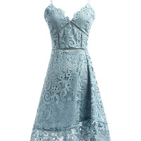 Blue Sweetheart Cutwork Lace Cami Mini Dress